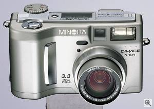 Minolta's DiMAGE S304 digital camera, front view.  Courtesy of Minolta. Click for a bigger picture!