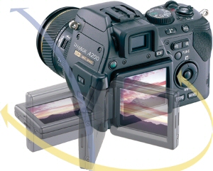 Konica Minolta's DiMAGE A200 digital camera. Courtesy of Konica Minolta, with modifications by Michael R. Tomkins. Click for a bigger picture!