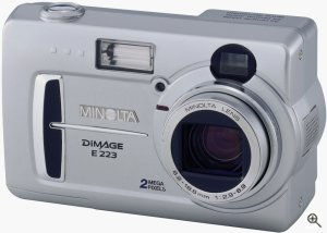 Minolta's Dimage E223 digital camera. Courtesy of Minolta, with modifications by Michael R. Tomkins. Click for a bigger picture!