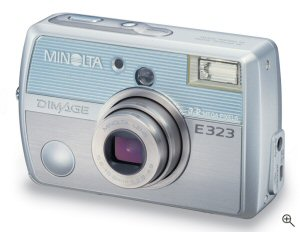 Minolta's DiMAGE E323 digital camera. Courtesy of Minolta, with modifications by Michael R. Tomkins. Click for a bigger picture!
