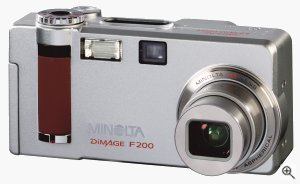 Minolta's Dimage F200 digital camera. Courtesy of Minolta, with modifications by Michael R. Tomkins. Click for a bigger picture!