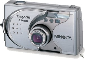 Minoilta's DiMAGE G400 digital camera. Courtesy of Minolta, with modifications by Michael R. Tomkins. Click for a bigger picture!