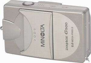 Minolta's DiMAGE G500 digital camera. Courtesy of Minolta, with modifications by Michael R. Tomkins.
