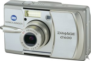 Konica Minolta's DiMAGE G600 digital camera. Courtesy of Konica Minolta, with modifications by Michael R. Tomkins. Click for a bigger picture!