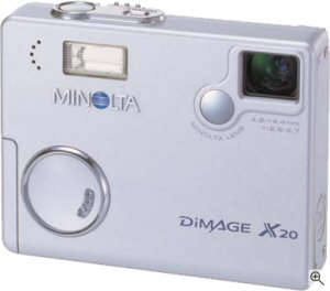 Minolta's DiMAGE X20 digital camera. Courtesy of Minolta, with modifications by Michael R. Tomkins. Click for a bigger picture!