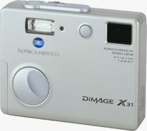 Konica Minolta's DiMAGE X31 digital camera. Courtesy of Konica Minolta, with modifications by Michael R. Tomkins. Click for a bigger picture!