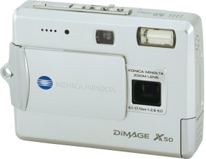 Konica Minolta's DiMAGE X50 digital camera. Courtesy of Konica Minolta, with modifications by Michael R. Tomkins. Click for a bigger picture!