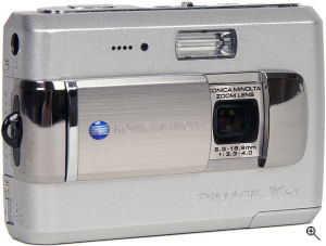 Konica Minolta's DiMAGE X60 digital camera. Courtesy of Konica Minolta, with modifications by Michael R. Tomkins. Click for a bigger picture!