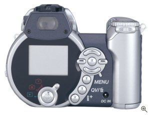 Minolta's DiMAGE Z1 digital camera. Courtesy of Minolta, with modifications by Michael R. Tomkins. Click for a bigger picture!