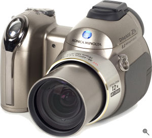 Konica Minolta's DiMAGE Z6 digital camera. Courtesy of Konica Minolta, with modifications by Michael R. Tomkins. Click for a bigger picture!