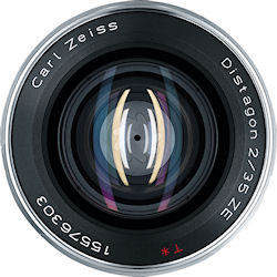 Front view of the Carl Zeiss Distagon T* 2/35 ZE lens. Photo provided by Carl Zeiss AG. Click for a bigger picture!