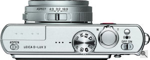 Leica's D-LUX 3 digital camera. Courtesy of Leica, with modifications by Michael R. Tomkins. Click for a bigger picture!