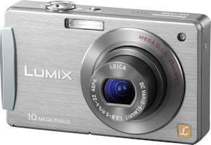 Panasonic's Lumix DMC-FX500 digital camera. Courtesy of Panasonic, with modifications by Michael R. Tomkins. Click for a bigger picture!