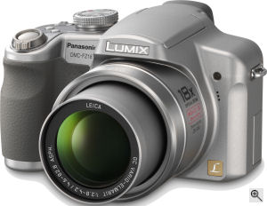 Panasonic's Lumix DMC-FZ18 digital camera. Courtesy of Panasonic, with modifications by Michael R. Tomkins. Click for a bigger picture!