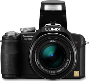 Panasonic's Lumix DMC-FZ28 digital camera. Courtesy of Panasonic, with modifications by Michael R. Tomkins. Click for a bigger picture!