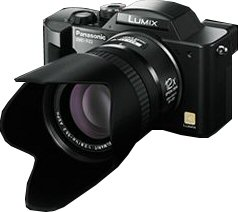 Panasonic's Lumix DMC-FZ2 digital camera. Courtesy of Panasonic, with modifications by Michael R. Tomkins.