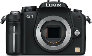 Panasonic's Lumix DMC-G1 digital camera. Courtesy of Panasonic, with modifications by Michael R. Tomkins. Click for a bigger picture!