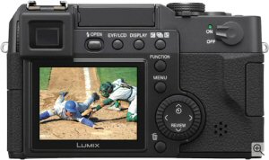 Panasonic's Lumix DMC-LC1 digital camera. Courtesy of Matsushita, with modifications by Michael R. Tomkins. Click for a bigger picture!