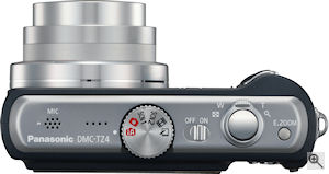 Panasonic's Lumix DMC-TZ4 digital camera. Courtesy of Panasonic, with modifications by Michael R. Tomkins. Click for a bigger picture!