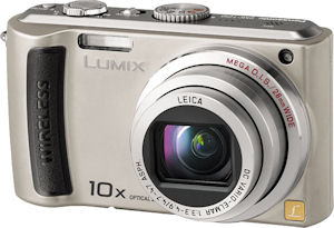 Panasonic's Lumix DMC-TZ50 digital camera. Courtesy of Panasonic, with modifications by Michael R. Tomkins. Click for a bigger picture!