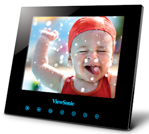 ViewSonic's DPG807BK Digital Photo Frame. Photo provided by ViewSonic Corp., with modifications by Michael R. Tomkins. Click for a bigger picture!