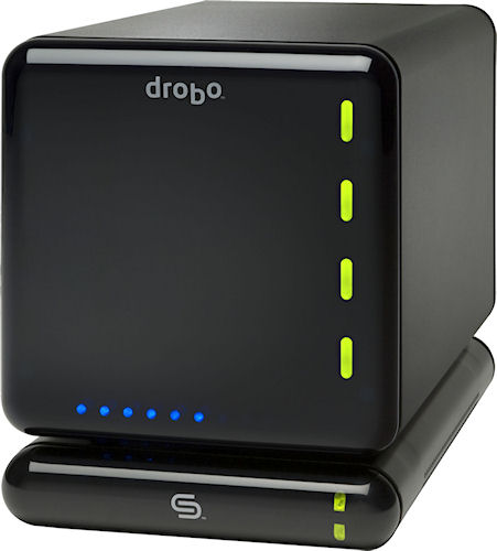 The Drobo RAID storage device, with DroboShare networking module attached. Photo provided by Data Robotics Inc. Click for a bigger picture!