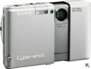 Sony's Cyber-shot DSC-G1 digital camera. Courtesy of Sony, with modifications by Michael R. Tomkins. Click for a bigger picture!