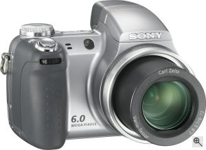 Sony's Cyber-shot DSC-H2 digital camera. Courtesy of Sony, with modifications by Michael R. Tomkins. Click for a bigger picture!