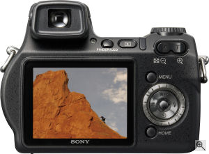 Sony's Cyber-shot DSC-H7 digital camera. Courtesy of Sony, with modifications by Michael R. Tomkins. Click for a bigger picture!