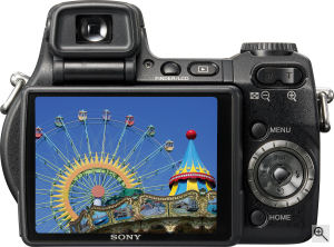 Sony's Cyber-shot DSC-H9 digital camera. Courtesy of Sony, with modifications by Michael R. Tomkins. Click for a bigger picture!
