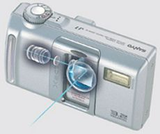 Sanyo's Xacti DSC-J1 digital camera. Courtesy of Sanyo Japan, with modifications by Michael R. Tomkins.