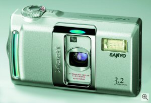 Sanyo's Xacti DSC-J2 digital camera. Courtesy of Sanyo Deutschland, with modifications by Michael R. Tomkins. Click here for a bigger picture!