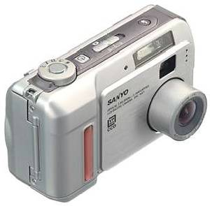 Sanyo's DSC-MZ1  digital camera, upper front view. Courtesy of Sanyo Japan.
