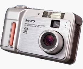 Sanyo's DSC-MZ1  digital camera, front view. Courtesy of Sanyo Japan.