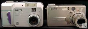 Sanyo's DSC-MZ2 (left) and DSC-MZ3 (right) digital camera. Courtesy of Sanyo Electric Co. Ltd. with modifications by Michael R. Tomkins.