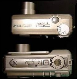 Sanyo's DSC-MZ2 (bottom) and DSC-MZ3 (top) digital camera. Courtesy of Sanyo Electric Co. Ltd. with modifications by Michael R. Tomkins.