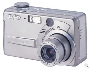Sanyo's DSC-MZ3 digital camera. Courtesy of Sanyo Electric Co. Ltd. with modifications by Michael R. Tomkins.