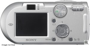 Sony's Cyber-shot DSC-P100 digital camera. Courtesy of Sony, with modifications by Michael R. Tomkins. Click for a bigger picture!