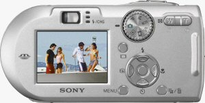Sony's Cyber-shot DSC-P150 digital camera. Courtesy of Sony, with modifications by Michael R. Tomkins. Click for a bigger picture!
