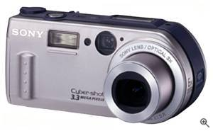 Sony's new DSC-P1 digital camera, front left quarter view. Courtesy of Sony - click for a bigger picture!