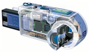 Sony's DSC-P1 digital still camera, cutaway view. Courtesy of Sony.