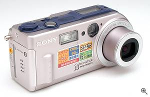 Sony's DSC-P1 digital still camera, front right quarter view. Copyright (c) 2000, The Imaging Resource, all rights reserved. Click for a bigger picture!