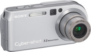 Sony's Cyber-shot DSC-P200 digital camera. Courtesy of Sony, with modifications by Michael R. Tomkins. Click for a bigger picture!