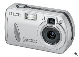 Sony's Cyber-shot DSC-P32 digital camera. Courtesy of Sony, with modifications by Michael R. Tomkins. Click for a bigger picture!