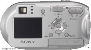 Sony's Cyber-shot DSC-P41 digital camera. Courtesy of Sony, with modifications by Michael R. Tomkins. Click for a bigger picture!