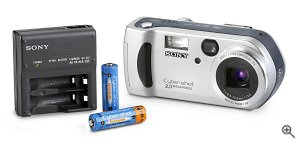Sony's DSC-P51 digital camera. Courtesy of Sony, with modifications by Michael R. Tomkins. Click for a bigger picture!