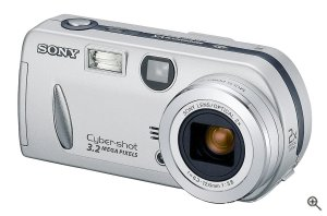 Sony's Cyber-shot DSC-P52 digital camera. Courtesy of Sony, with modifications by Michael R. Tomkins. Click for a bigger picture!