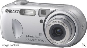 Sony's Cyber-shot DSC-P73 digital camera. Courtesy of Sony, with modifications by Michael R. Tomkins. Click for a bigger picture!