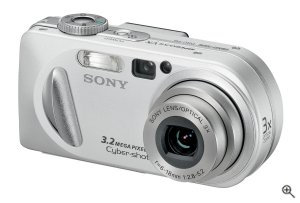 Sony's Cyber-shot DSC-P8 digital camera. Courtesy of Sony, with modifications by Michael R. Tomkins. Click for a bigger picture!
