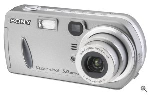 Sony's Cyber-shot DSC-P72 digital camera. Courtesy of Sony, with modifications by Michael R. Tomkins. Click for a bigger picture!